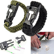 Stainless steel Outdoor Survival Bracelet flint Fire Starter Scraper Whistle