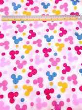 Pink Blue Yellow Mickey Mouse Polka Dots Cotton Blend Fabric Kids Craft BTY