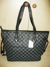 DESIGNER INSPIRED Ladies Black Check Handbag Tote Bag Shoulder Grab Handles BNWT