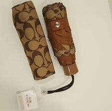 NWT COACH SIGNATURE UMBRELLA MINI KHAKI/SADDLE F63365 NWT $65