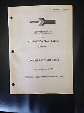 1973 Amtrak Supplement 2 to All America Train Fares Edition 2 Passenger Fares