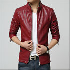 Men's leather motorcycle jacket Slim washed leather jacket Coat