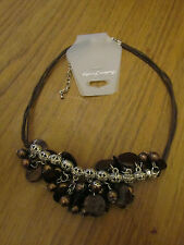 "Brown Shell & Faux Pearl Dangling Beads on Cord Necklace - 16 - 19"" long"