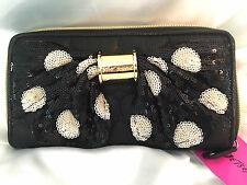 BETSEY JOHNSON WALLET BOW NANZA POLKA DOT ZIP AROUND SEQUIN CLUTCH-NWT