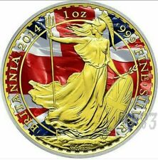 "2014 1oz £2 GBP Silver Coin - UK ""Patriotic Britannia"" - Color and 24K Gold."