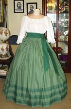 Civil War Dress~Victorian Style 100% Cotton~Solid Sage Green Skirt & Sash