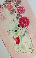 UNUSED Fluffy White Kitten Ornaments Glitter 50s Vintage Christmas Greeting Card