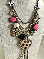NWT 100% Betsey Johnson Tea Cup Lips Heart Long Necklace