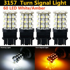 4X 3057 3157 60SMD Dual Color Switchback White Amber Ture Signal Led Light Blubs