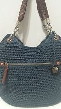 NWOT THE SAK INDIO Handbag Hand Crochet Navy Blue Brown Shoulder Bag Hobo Knit