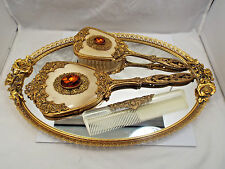 Vintage Matson Vanity Ornate Gilt Roses Tray w/ Jeweled Mirror Brush & Comb Set