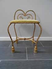 Gold Gilt Brass Metal Rope Bow Tassel Hollywood Regency Vanity stool Chair Bench