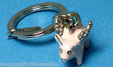 NEW RARE COACH Pave Swarvoski Flying Pig Pink Key Chain Ring Fob Crystal Charm