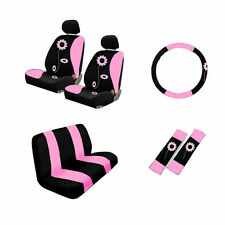 Brand New Set Pink Sunflower Car Seat Covers Steering Wheel Cover Belt Covers