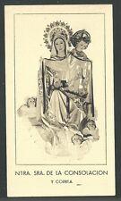 Estampa antigua Virgen de Consolacion y Correa santino image pieuse holy card