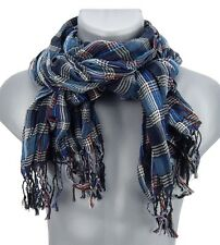 Men's scarf blue white colorful stripes checked by Ella Jonte Crinkle