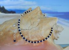 Dark Blue Lapis Lazuli & .925 Sterling Silver Bead Ankle Bracelet 9 to 10 Inches