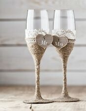 Wedding Toasting Glasses Rustic Toasting Flutes Wine Champagne Flutes