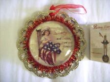 "Bethany Lowe ""Americana Image"" Dome-style Ornament with Woman Sewing Flag"
