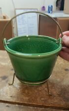 McCoy Pottery Green Bucket Planter with Metal Stand Hard to Find Shape