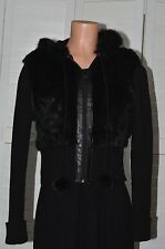 JENNYFER J. Beautiful Black RABBIT FUR Hooded SWEATER JACKET Size Large