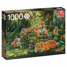 Jumbo Premium Quality 1000 Piece Jigsaw Puzzle - Tiger Family At The waterhole