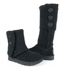 UGG-Australia-Classic-Cardy-Black-Knit-Boots-Womens-sz 8 Never Worn