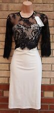 ELITE 99 BLACK LACE IVORY CREAM BANDAGE PARTY PENCIL BODYCON TUBE DRESS 14 L