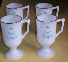 VTG IRISH COFFEE MUG MILK GLASS CUP GOLD FLASH CAFE GAELIC BREAKFAST BAR PUB FUN