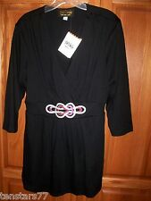 Bob Mackie WEARABLE ART Black TUNIC Embroidered Celtic LOVE KNOT Blouse TOP LGE
