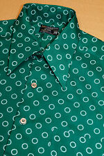 M * vtg 70s S/S poly disco shirt * 39.59 * green & white ring * mod