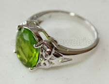 Oval cut Peridot & 925 Sterling Silver Ring w/ White Gold finished, 4631P Size 7