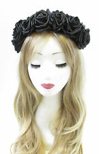 Large Black Rose Flower Hair Crown Headband Festival Vintage Garland Big V44