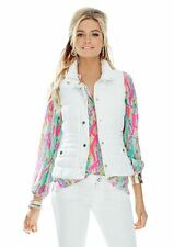 Lilly Pulitzer ISABELLE PUFFER VEST Down Feathers size L Resort White NWT