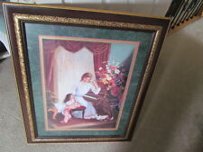 "HOME INTERIOR PICTURE ""MOTHER MAY I PLAY"" DESIGNER SERIES CHERRY FRAME WITH GOLD"