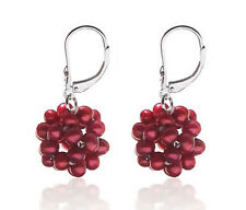 Unique! .925 Sterling Silver Cranberry Pearl Leverback Earrings Snowball Design