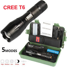LED Flashlight Lampe Militaire CREE T6 Rechargeable Torche 18650 Battery Boîte
