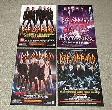 DEF LEPPARD Japan PROMO flyer tour handbill x 4 set mini POSTER WHITESNAKE