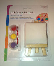 "MINI Canvas WOOD EASEL & 3 PAINTS KIT 2.5"" Square RED BLUE YELLOW & BRUSH Craft"