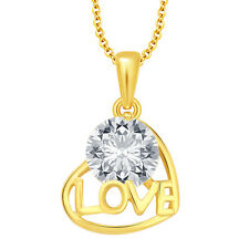 Sukkhi Blossomy Solitaire Heart Love Gold Plated CZ Pendant For Women(18065P
