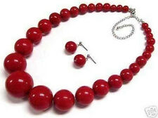 "Beautiful 6-14mm Red Coral Round Beads Necklace Earring 18"" Set"