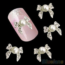 10Pcs Nail Art Stickers Rhinestone Faux Pearl Bowknot DIY Decorations Casual