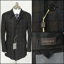 Mens CANALI Gray Plaid Flannel Wool Cashmere 4Btn Coat Field Jacket 46 36 S NWT!