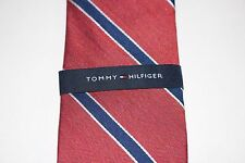 NWT TOMMY HILFIGER Men's Red, White, Blue Striped Silk Blend CLASSIC Neck Tie OS