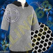 Medieval Chainmail Shirt, Zinc Plated, butted Chain Mail Costume Armour Size M