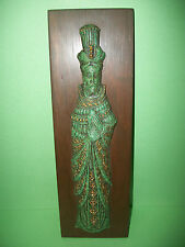 "14""x 4.5"" EL ARTE AZTECA REPRODUCTION ART WALL PLAQUE GUY IN GREEN & GOLD ROBE"