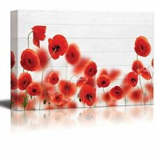 Wall26 - Red Poppy Field Over White Wood Panels - Canvas Art - 12x18 inches