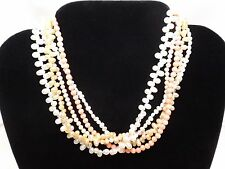 "Vintage Salmon Coral White Fresh Water Chocker Necklace 16"" Clasp LH 925 Silver"