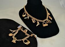 VERSACE GOLD TONE MULTI BAG/ SHOE CHARM BRACELET/ NECKLACE SET