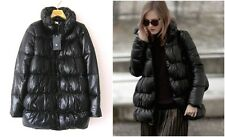 NWT ZARA BLACK QUILTED COAT W/ WRAPAROUND COLLAR DUCK DOWN JACKET Sz-S BLOGGERS!